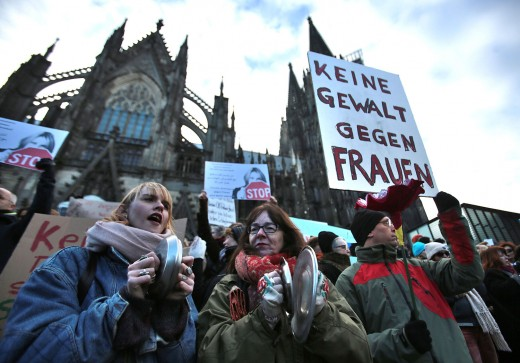 Germans protesting the sexual assaults from migrants in Cologne
