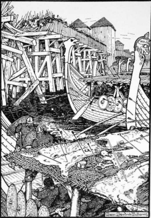 An ally of Aethelred, Olaf Haraldsson's ships pull down London Bridge in AD 1014 at the time of Svein Forkbeard's invasion to claim the throne