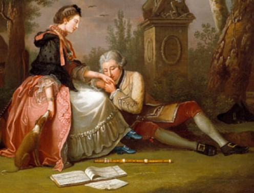 """""""Courtship"""" in paintings during early 1800's."""