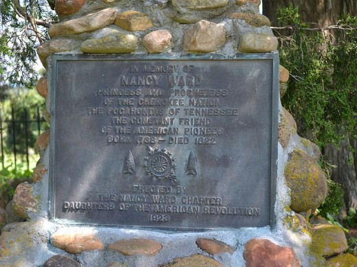 Monument placed on the tomb of Nancy Ward
