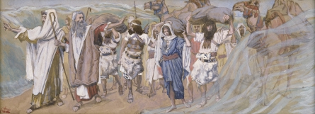 Moses passing through crossing over the Red Sea