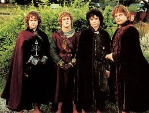 The four hobbits at the end of there journey. Though each of them starts out small and afraid they each learn to face their fears and fight for what is right.