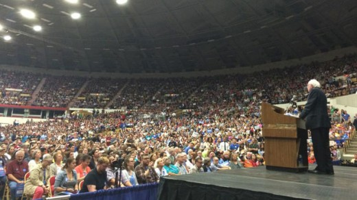Bernie Sanders speaks to a massive crowd of supporters.