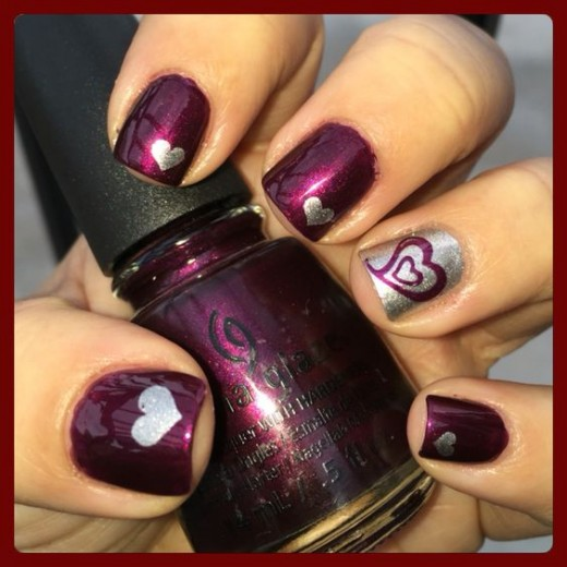 Burgundy + Silver | Cute Valentines Day Nail Art Ideas for Teens