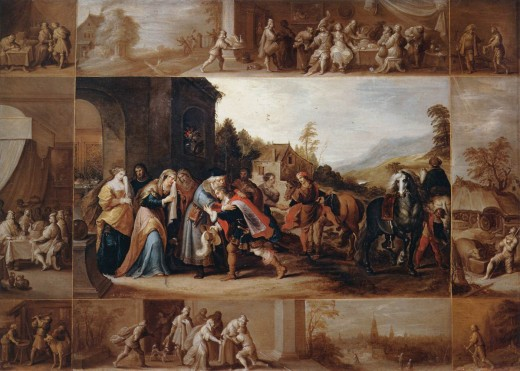 Frans Francken the Younger did two composite paintings showing scenes from the Parable of the Prodigal Son. The first, shown above, highlights the son's heavy spending. This shows his return home.