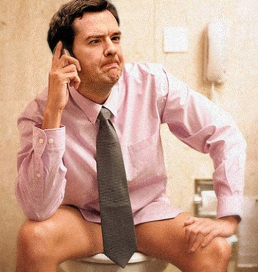 Chancellor George Osborne in thoughtful mood in lampooning illustration.