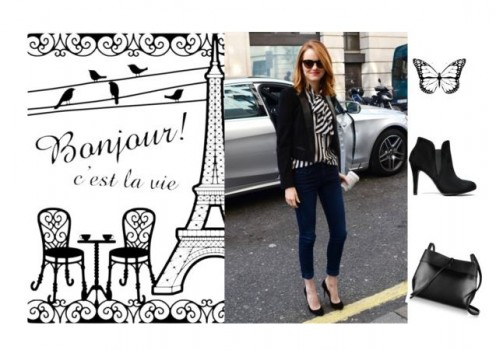 Cool chic black and white striped shirt and pain black heels and bag.