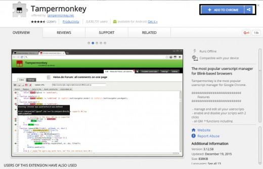 """The Tampermonkey install popup. Select """"Add To Chrome"""""""