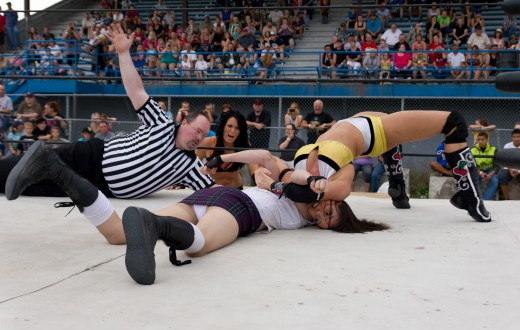 A professional wrestler performing a neck bridge. Both competitive wrestlers, and performers in sports entertainment utilize the bridge to keep their shoulders off the mat. It is not only a move, but also an exercise used in strength conditioning.