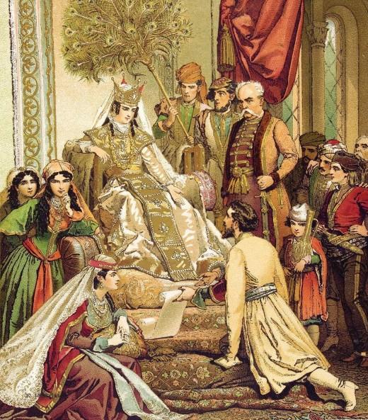 Shota Rustaveli presents his poem to Queen Tamar by Mihaly Zichy