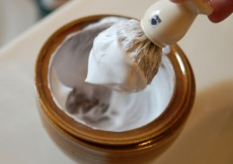 A traditional facial shaving kit.
