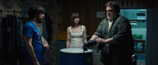 From left to right: Emmett, played by John Gallagher Jr, Michelle, and Howard played by John Goodman