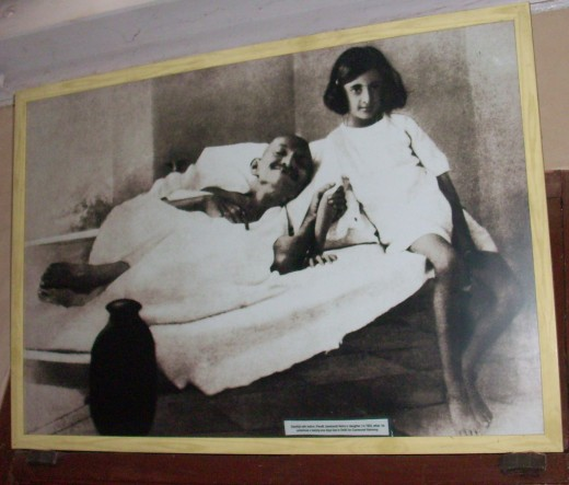 Young Indira with Mohandas Gandhi