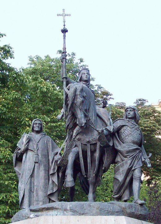 Monument to Isabella of Castile, the Catholic at the Paseo de la Castellana in Madrid