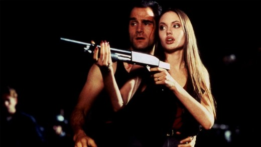 Elias Koteas and Angelina Jolie in Cyborg 2 (1993)