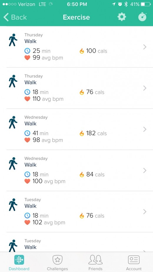 The app also tracks what kind of activity you do. it knows If I am walking or running and keeps track of how long I do that activity.