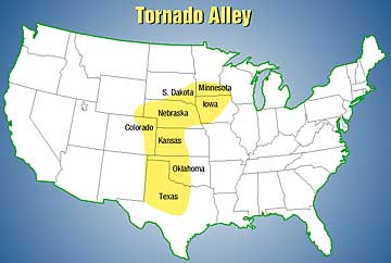 The Tornado Alley region of the Midwest