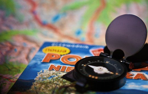 A travel guide and compass.