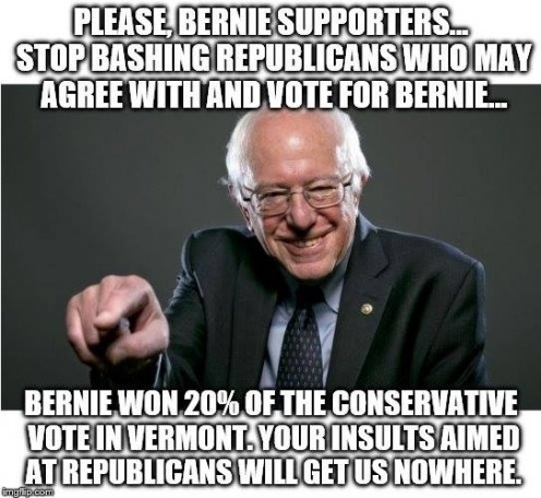 Please, Bernie supporters, don't bash Republicans who may agree with and vote for Bernie. Bernie won 20% of the conservative vote in his senatorial election.