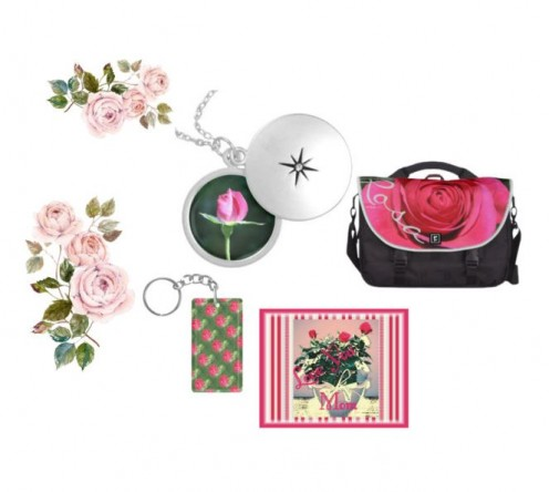 Rose art expression on bags and jewellery.
