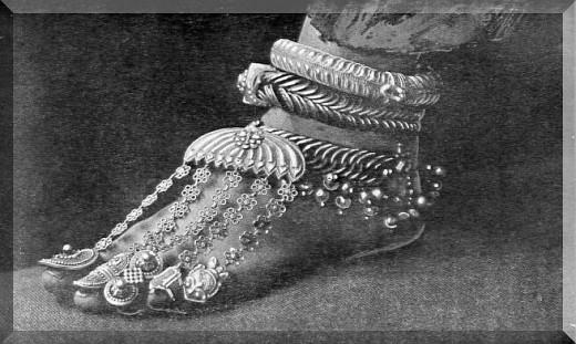 India.  Beautiful bejeweled foot.