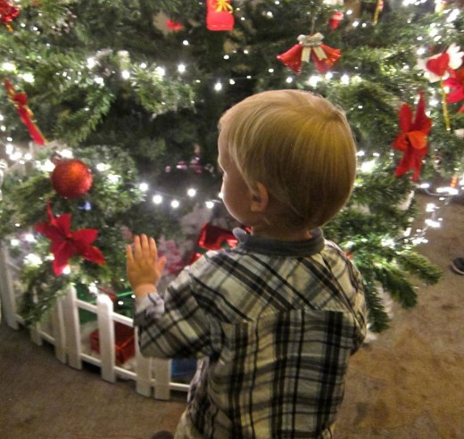 Little boy waiting for gifts