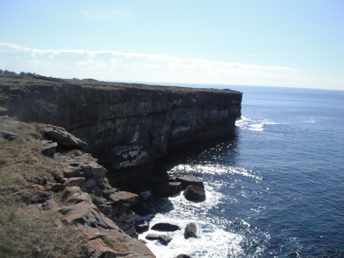 View of the coast line off the Aran Islands.