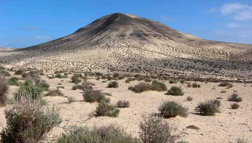 The countrysiide in southern Fuerteventura features low sandy hills and scrubland. The contrast between this hill, photographed in Barranco de Pecenescal in the Municipality of Pajara, and the reddish-hued uplands to the north, is clear to see