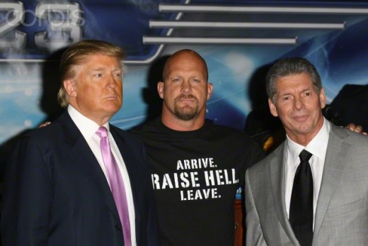 From left, Donald Trump, Stone Cold, Steve Austin, Vince McMahon.