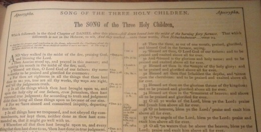The Song of the Three Holy Children is a non-canonical book of the Bible from the Apocrypha.