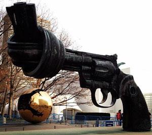 Statue representing non-violence in front of UN headquarters, New York