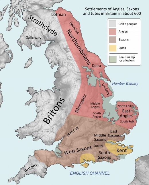 The early kingdoms from the East Angles, Mercia and Northumbria to  Wessex, This map shows the physical aspect of the part of Britain that would become England, as well as its nearest Celtic neighbours