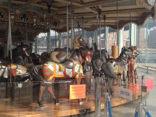 The beautiful horses on Jane's Carousel,  a popular thing to do around the Brooklyn Bridge