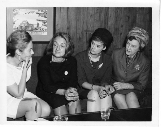 Betty Friedan (second from left) and members of NOW including Margurite Rawalt and Barbara Ireton.
