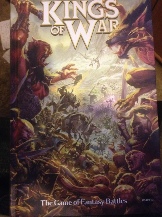 A photo of the hardback full rules of Kings of War