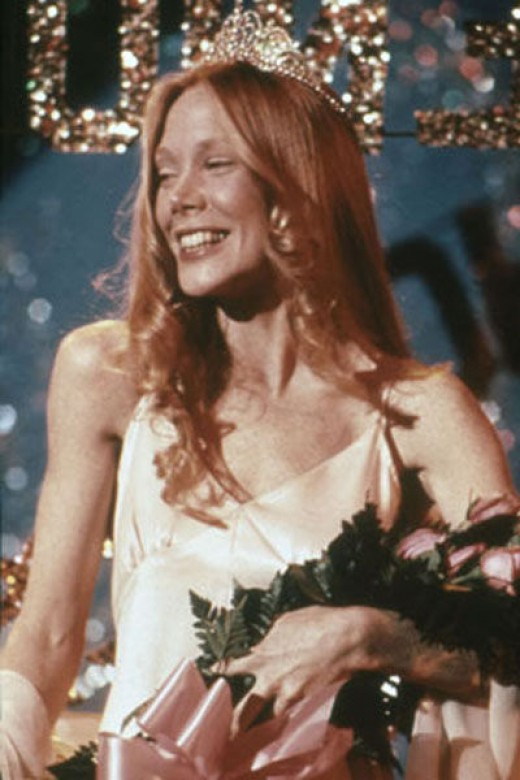 Cissy Spacek as Carrie White in the 1976 film version of this Stephen King story.