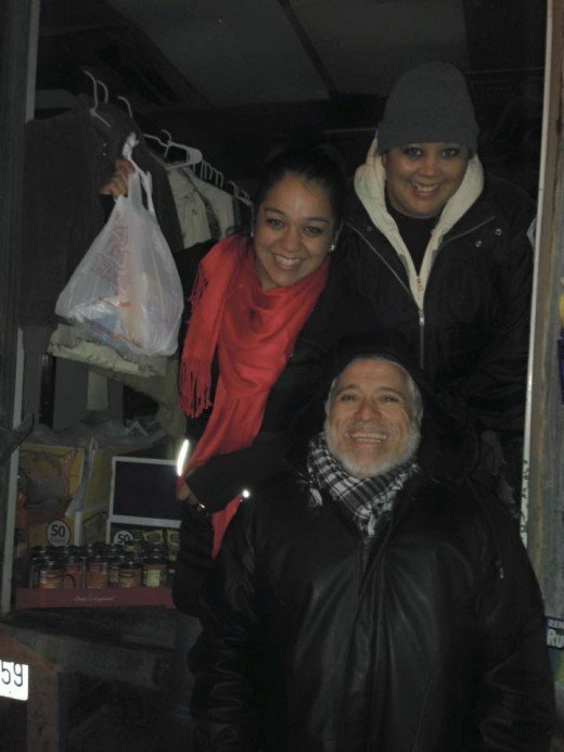 Typical Friday Night, Feeding The Homeless and Distributing Jackets And Blankets. Lisa Grozdanic, Jamie Justis-Stevens, Adolfo Pacheco