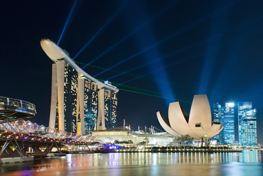 The dazzling laser show at Marina Bay Sands Integrated Resort. One of the highlights of nights in Singapore.