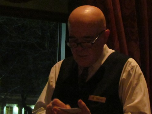 Shariar, who has been employed at Hotel du Pont for more than 26 years was our outstanding waiter for the evening.