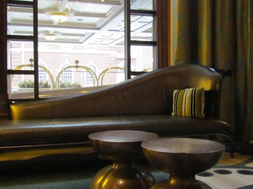 A photo of a stylish furnishings in the lobby of Hotel du Pont.