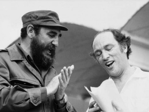 Pierre and his friend Fidel Castro join in a singalong during a Latin American Tour (1976)
