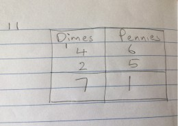 This is how the problem 46 + 25 will look in the notebook. Have your child write the number of pennies they've found off to one side until they better understand how to solve these problems
