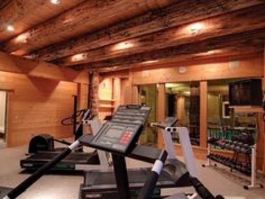 Rustic home fitness gym