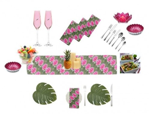 tropical table setting for a summer party