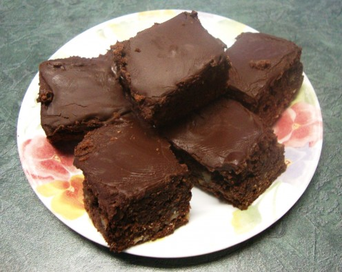 Brownies bake up to a decent height and oh... that chocolate on the top.