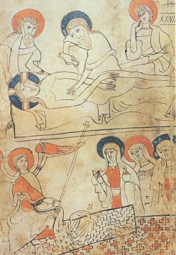 """This page of a Hungarian manuscript from 1192-1195, discovered by György Pray, shows the burial of Jesus."""