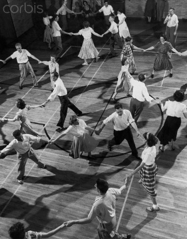 Square dancing at the YMCA. Photo shot Aug. 1, 1947.