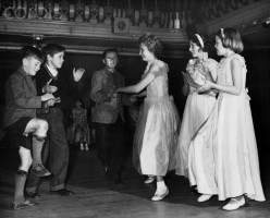 Young square dancers in photo shot Dec. 1947.