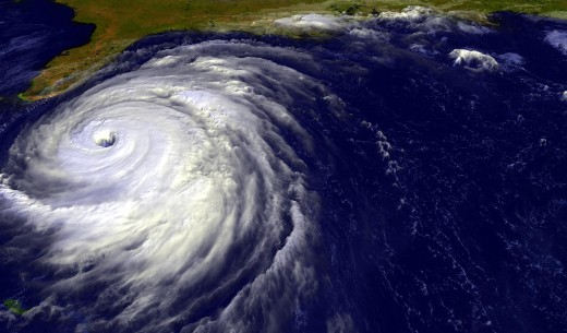 A cyclone approaching Florida: The Coriolus effect as seen from Space.