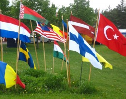 flags of many nations and languages